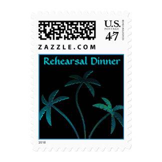 Palmeras de la turquesa de la cena del ensayo timbres postales