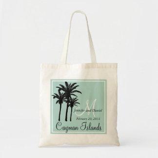Palmeras del boda de playa de la verde menta bolsa tela barata