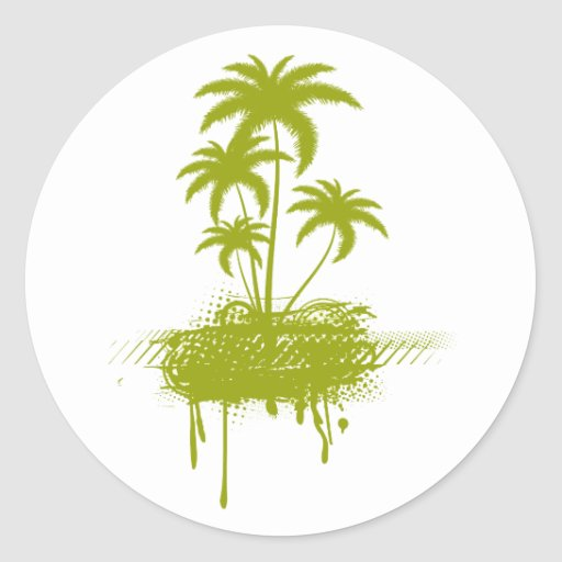 palmeras del grunge etiquetas redondas