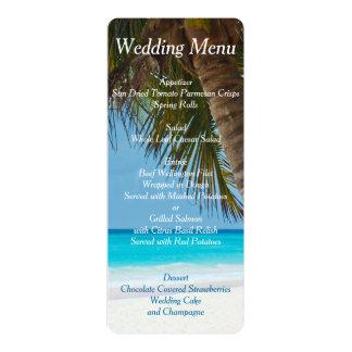 """Palmeras en invitaciones del menú del boda de invitación 4"""" x 9.25"""""""