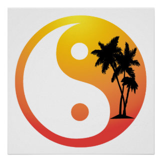Palmeras en la impresión del poster de Yin Yang de