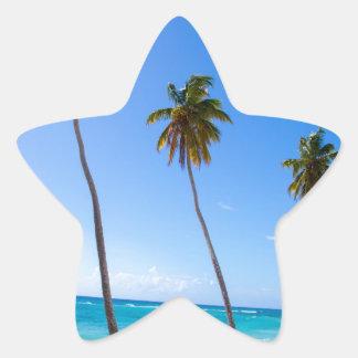 Palmeras en la playa de Isla Saona Pegatina En Forma De Estrella