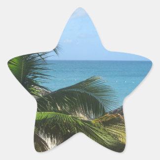 Palmeras en la playa pegatina en forma de estrella