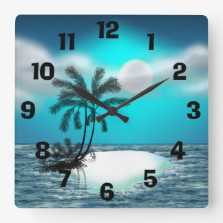 Palmeras en una isla tropical reloj cuadrado