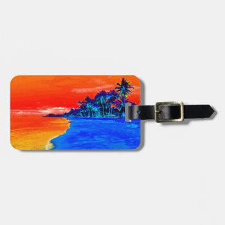 Palmeras exóticas de la playa del arte pop etiquetas para maletas