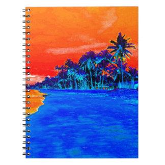 Palmeras exóticas de la playa del arte pop libros de apuntes