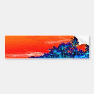 Palmeras exóticas de la playa del arte pop pegatina para auto