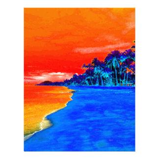 Palmeras exóticas de la playa del arte pop plantillas de membrete