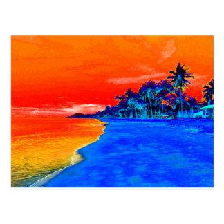 Palmeras exóticas de la playa del arte pop tarjetas postales