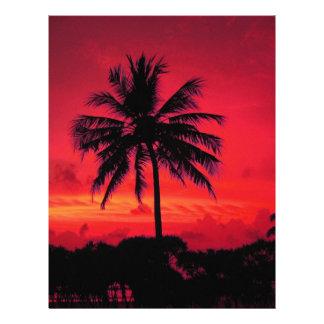 Palmeras exóticas de la puesta del sol hawaiana membrete personalizado