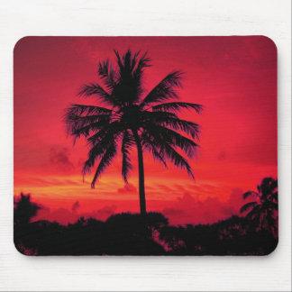 Palmeras exóticas de la puesta del sol hawaiana tapetes de raton
