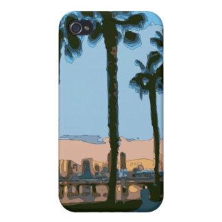 Palmeras hawaianas tranquilas de la puesta del sol iPhone 4 coberturas