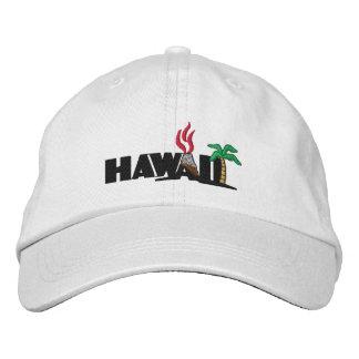 Palmeras hawaianas y casquillo bordado volcanes