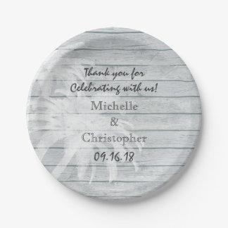 Palmeras personalizadas en el boda de playa de platos de papel