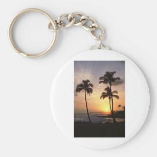 Palmeras, puesta del sol, playa, Hawaii Llavero Redondo Tipo Pin