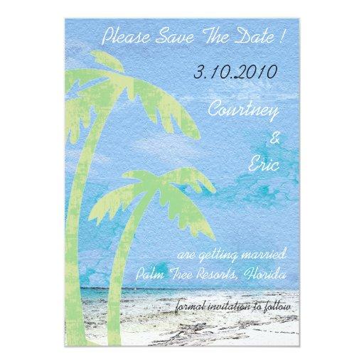 Palmeras - reserva de la playa las tarjetas de invitación 12,7 x 17,8 cm