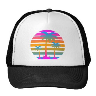Palmeras retras de la puesta del sol del tigre 80s gorras de camionero