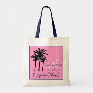 Palmeras rosadas del boda de playa de los azules m bolsa lienzo