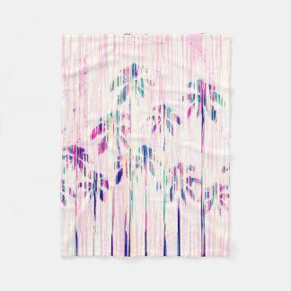 Palmeras rosadas femeninas del goteo de la manta de forro polar