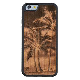 Palmeras tropicales de la isla del estilo retro funda de iPhone 6 bumper cerezo