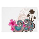 Palmeras tropicales de la playa del hibisco de las felicitación