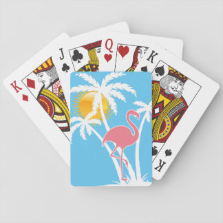 Palmeras tropicales del flamenco de la playa barajas de cartas