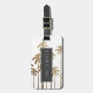 Palmeras tropicales del oro atractivo en blanco etiquetas para maletas