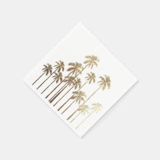 Palmeras tropicales del oro atractivo en blanco servilleta de papel