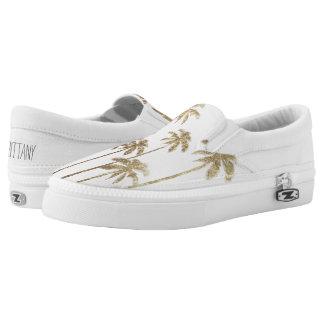 Palmeras tropicales del oro atractivo en blanco zapatillas