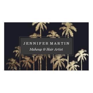 Palmeras tropicales del oro atractivo en negro tarjetas de visita