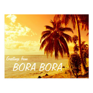Palmeras tropicales en la postal de Bora Bora de