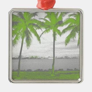 Palmeras verde de Miami, la Florida Adorno Cuadrado Plateado