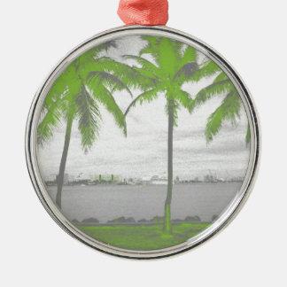 Palmeras verde de Miami, la Florida Adorno Redondo Plateado