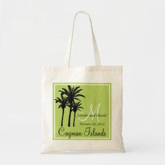 Palmeras verdes claras del boda de playa bolsa tela barata