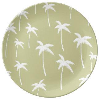 Palmeras verdes y blancas plato de cerámica