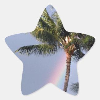 Palmeras y arco iris pegatina en forma de estrella