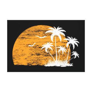 Palmeras y pájaros tropicales del sol impresiones en lona estiradas