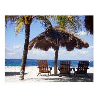 Palmeras y playa de México de las sillas Tarjeta Postal