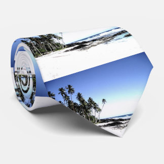 Palmeras y playa exóticas del paraíso corbata