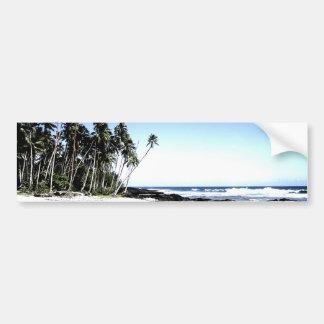 Palmeras y playa exóticas del paraíso pegatina para auto
