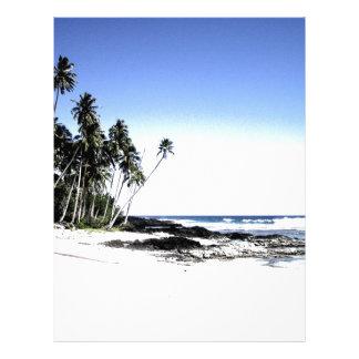 Palmeras y playa exóticas del paraíso plantilla de membrete