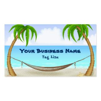 Palmeras y playa tropical de la hamaca tarjetas de visita