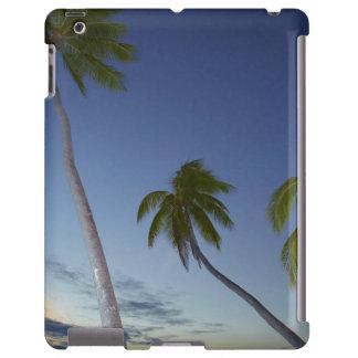 Palmeras y puesta del sol, centro turístico isleño funda para iPad