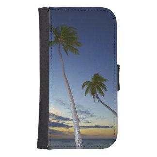 Palmeras y puesta del sol, centro turístico isleño fundas tipo cartera para galaxy s4