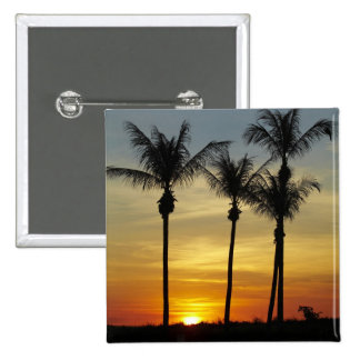 Palmeras y puesta del sol, playa de Mindil, Darwin Pin Cuadrada 5 Cm