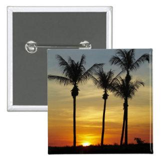 Palmeras y puesta del sol, playa de Mindil, Darwin Pin Cuadrado