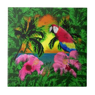Palmeras y puestas del sol de la isla azulejo cuadrado pequeño