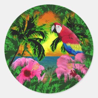 Palmeras y puestas del sol de la isla pegatina redonda