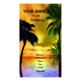 Palmeras y una puesta del sol tropical tarjetas de visita