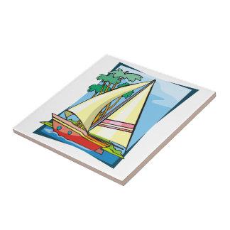 Palmeras y velero azulejos